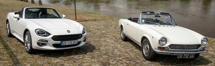50 ans séparent ces deux Fiat 124 spider et deux places en moins