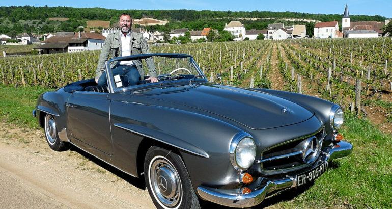 Une Mercedes190 SL à Chassagne-Montrachet